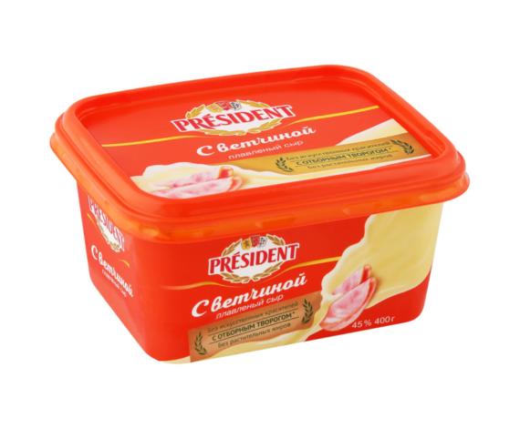 Сыр плавленый President с ветчиной 45%, 400 г