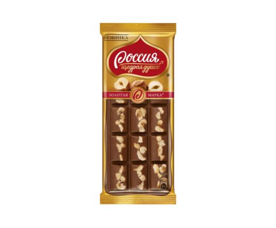 Молочный шоколад с фундуком Золотая марка, 140г
