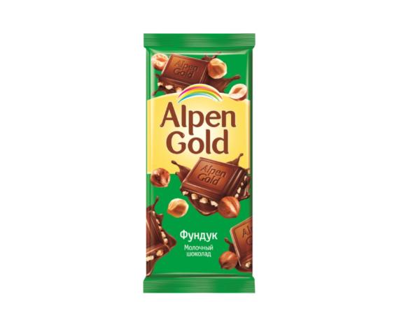 Шоколад Alpen Gold, молочный, с фундуком, 85г