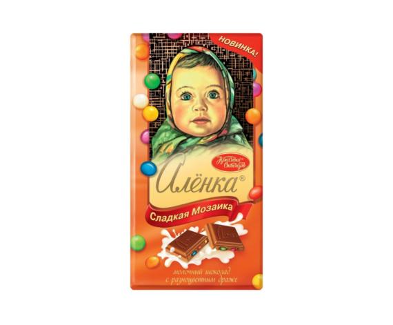 Шоколад молочный Алёнка Сладкая Мозаика с разноцветным драже, 100 г