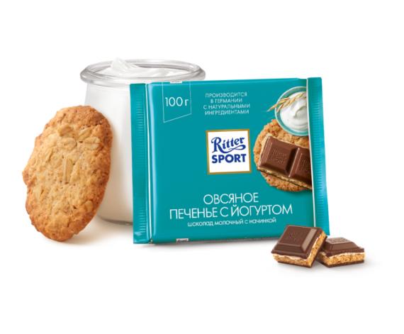 Шоколад Ritter Sport Овсяное печенье с йогуртом, молочный, 100 г