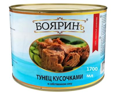"""Кусочки тунца в с/с """"Боярин"""", 1,7 кг"""