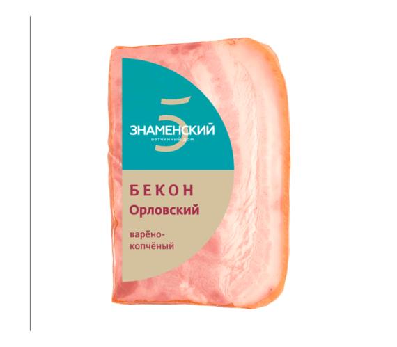 """Бекон """"Орловский"""" Знаменский б/к свин кат Г кусок в/у, 350 г"""
