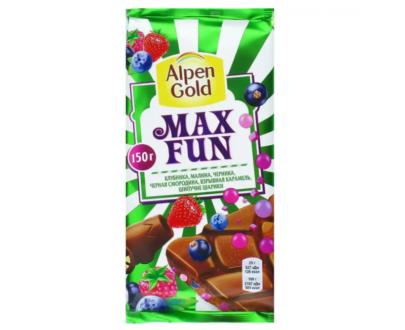Шоколад Alpen Gold Max Fun клубника, малина, взрывная карамель, шипучие шарики 150г.