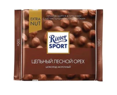 Шоколад Ritter Sport молочный с цельным лесным орехом 100гр.