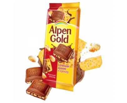 Шоколад Alpen Gold соленый арахис и крекер 85гр.