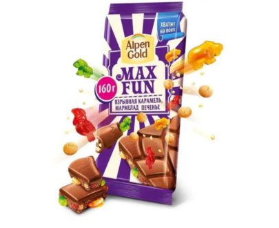 Шоколад Alpen Gold Max Fun взрывная карамель, мармелад, печенье 150г.
