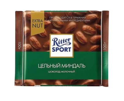 Шоколад Ritter Sport молочный с цельным миндалем 100гр.