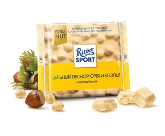 Шоколад Ritter Sport белый с цельным лесным орехом и хлопья, 100гр.