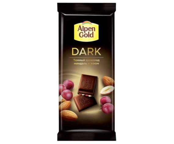 Шоколад Alpen Gold темный миндаль и изюм 80гр.