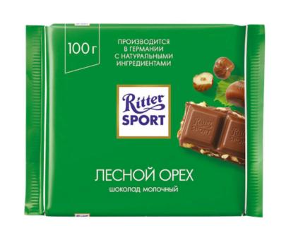 Шоколад Ritter Sport молочный «Лесной орех» 100гр.