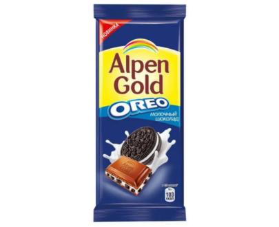 Шоколад молочный Alpen Gold с орео 95гр.