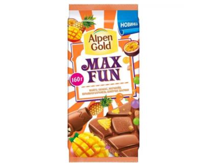 Шоколад Alpen Gold Max Fun манго, ананас, взрывная карамель, шипучие шарики 150г.