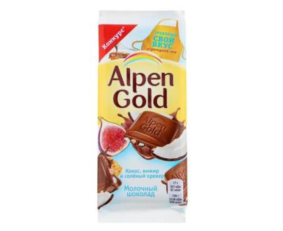 Шоколад Alpen Gold кокос, инжир и соленый крекер 85гр.